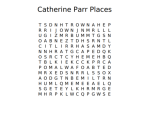 Catherine Parr Places Word Search