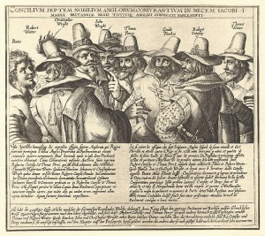A contemporary engraving of eight of the thirteen conspirators, by Crispijn van de Passe