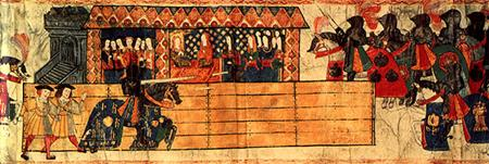 Henry VIII jousting in front of Catherine of Aragon in 1511, Westminster Tournament Roll
