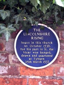 Plaque commemorating the Lincolnshire Rising, opposite south entrance to St James's church, Louth.
