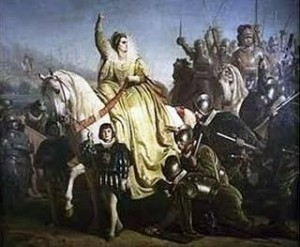 Elizabeth I addressing the Troops at Tilbury before the arrival of the Spanish Armada 1588.