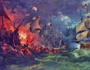 Defeat of the Spanish Armada at Gravelines, Philipp Jakob Loutherbourg the Younger.
